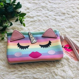 Rainbow Unicorn cattacorn kitty lips eyelash pouch